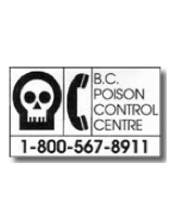 BC Poison control centre phone sticker 1-800-567-8911