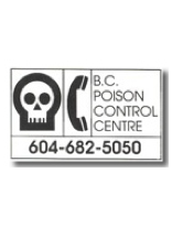 BC Poison control centre phone sticker 604-682-5050