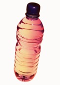 Unlabelled drinking or water bottle used to store chemicals 